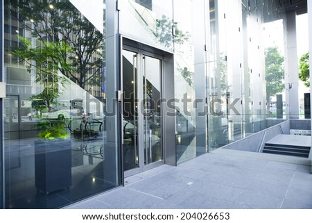 Entrance of the stylish office building