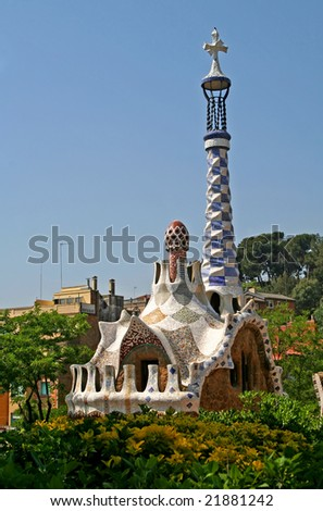 Entrance Pavilions of the Parc Guell, at Barcelona, Spain - stock photo