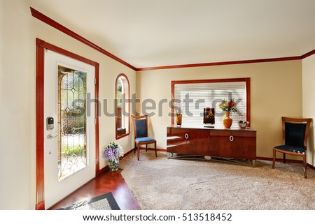Entrance Room With Comfortable Sitting Area Large Console Table