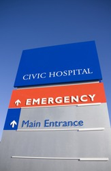 Entrance sign for modern new hospital
