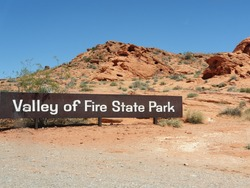Entrance Sign of Valley of Fire State Park near Las Vegas