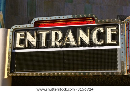 Entrance sign on retro theater marquee in Las Vegas, Nevada.