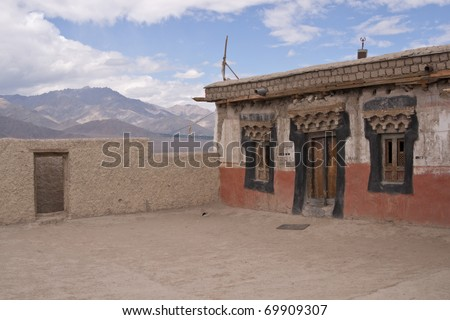 Entrance to a Buddhist temple on the roof of Shey monastery, Ladakh, India
