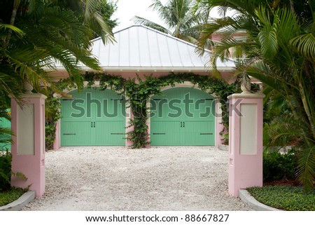 Entrance to a double garage
