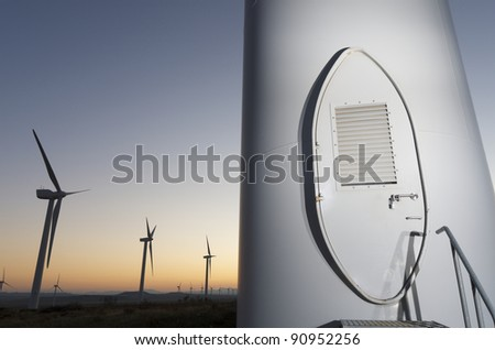 entrance to a windmill for renowable electric production