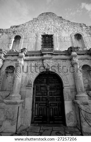 Entrance to Alamo mission national landmark in San Antonio, Texas