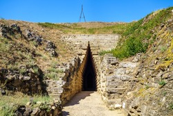 Entrance to antique crypt of Bosporan king or Royal Kurgan, Kerch, Crimea. Burial place was built about V BC. It has very unique construction in form of corbel arch