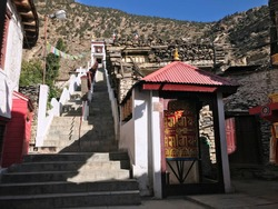 Entrance to Buddhist monastery Tserok. Chhairo gompa. Tibetan ancient monastery in village Marpha.  Mustang district, Nepal, Asia. Nyingma school of Tibetan Buddhism founded in Upper Mustang.