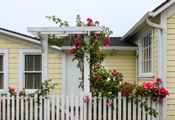 Entrance to cheery yellow wood house with white picket fence and a gate with an arbor with wild roses growing up and over it