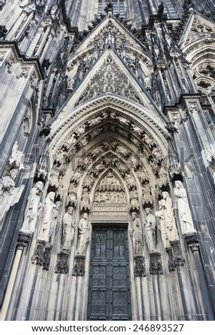 Entrance to Cologne Cathedral Dom. Cologne, North Rhine-Westphalia, Germany #246893527