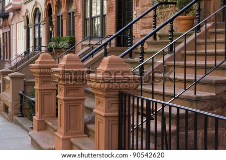 Entrance to New York Brownstone on upper East side of Manhattan