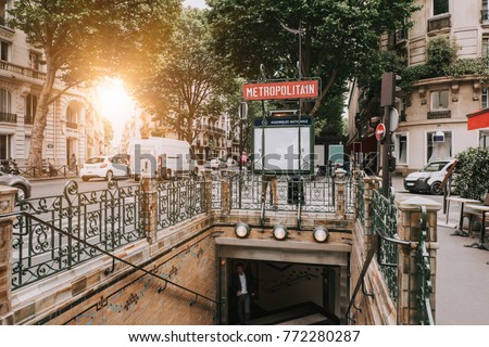 entrance to paris metro subway...