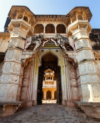 Entrance to Taragarh fort in Bundi town, typical medieval fortress in Rajasthan, India