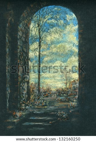 Entrance to the ancient ruins. Fantasy art, ancient ruins. Color pastels on black textured paper. - stock photo
