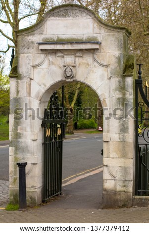 Entrance to the Battersea Park. Vintage stone gate. Carriage Drive North. London, Great Britain
