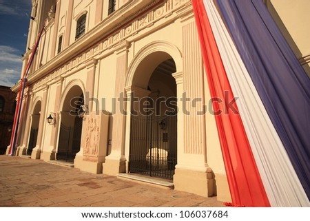 Entrance to the catholic cathedral in center of capital Asuncion, Paraguay. South America.