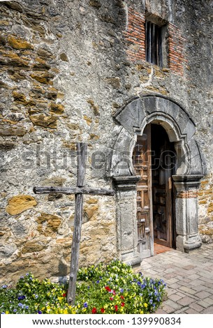 Entrance to the chapel of the historical San Antonio Mission