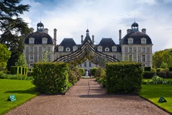entrance to the Chateau Cheverny, Loire Valley, France.