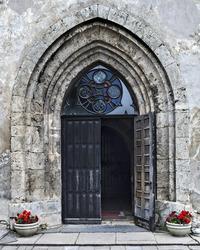 Entrance to the church of Saint John in Cesis, Latvia, Europe