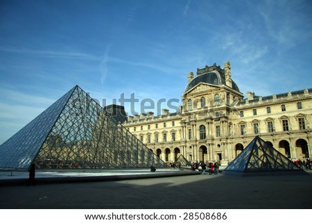 Entrance to the Louvre museum in Paris, France