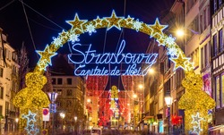 Entrance to the old town of Strasbourg at Christmas time