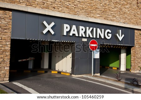 Entrance to the parking lot