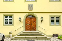 Entrance to the town hall of Reichenau Island in Lake Constance, Baden-Wurttemberg, Germany, Europe.