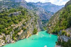 entrance to the Verdon Gorge with cliffy rocks at lake of Sainte-Croix, Provence, France, near Moustiers-Sainte-Marie, department Alpes-de-Haute-Provence, region Provence-Alpes-Côte d'Azur