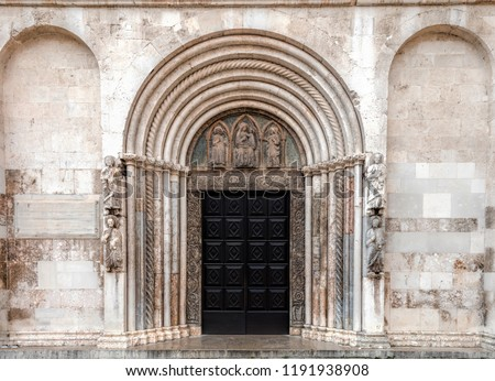 Entrance to the Zadar Cathedral of St. Anastasia in Zadar, Croatia, constructed in the Romanesque style during the 12th and 13th centuries. #1191938908
