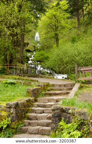 Entrance to Wahkeena Waterfall in the Columbia River Gorge Oregon