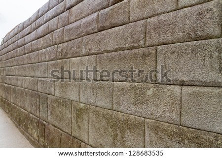 Entrance wall of the Inca temple at the lost city of Machu Picchu, Peru
