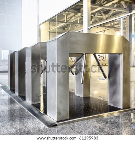 Entrance with turnstile in a business center building