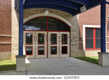 Entry doors for a modern elementary school building