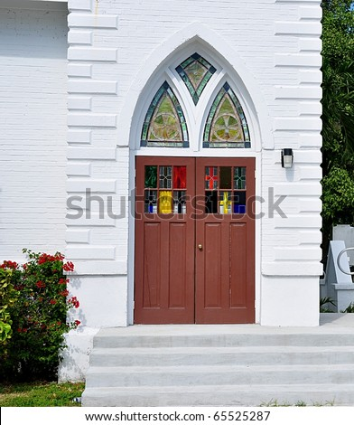 Entry doors to old church with stained glass stock photo 65525287 shutterstock for Exterior glass doors for churches