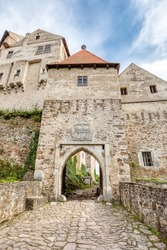 entry gate historic medieval castle Pernstejn, located on an impregnable hill, a jewel among Czech castles, Czech Republic