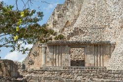 Entry to a temple of Uxmal's ruins.