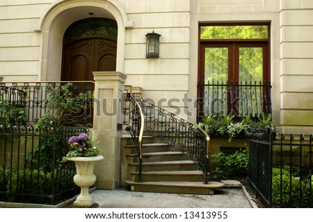 Entry to luxurious home - stock photo