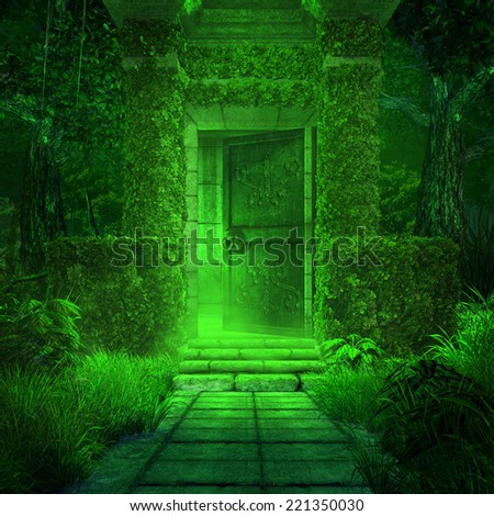 Entry to the old crypt, also includes green fog, trees and ivy