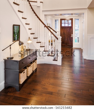 Entryway and Stairs in New Luxury Home