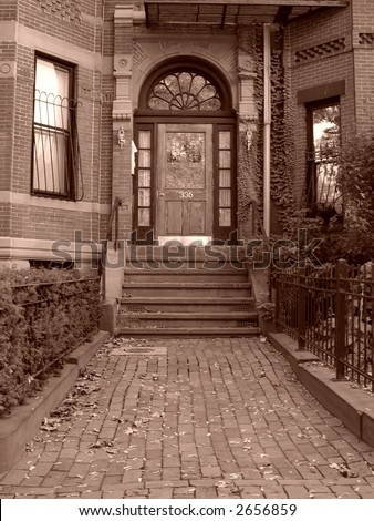 Entryway and steps to home of a Back Bay brownstone in Boston Massachusetts.