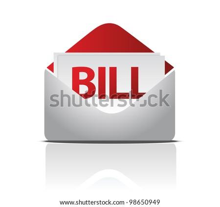 envelope and bill documents illustration design over white