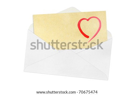 envelope and heart on a white background.