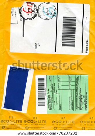 Envelope cardboard background with mail symbols fo background - stock photo