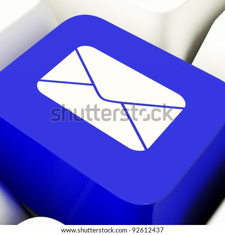 Envelope Computer Key In Blue For Emails Or Contacting