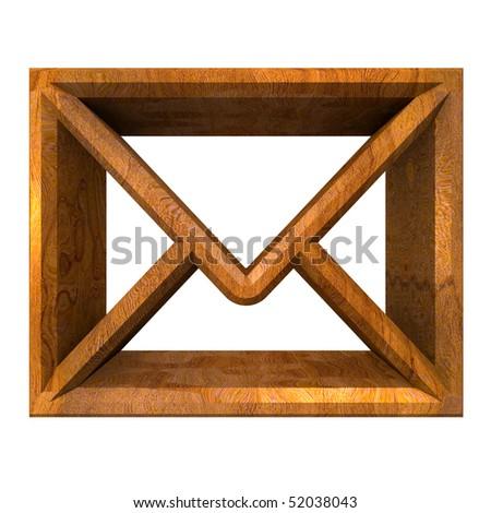 envelope email symbol in wood (3d)