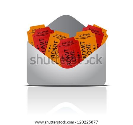 envelope full of tickets illustration design over white