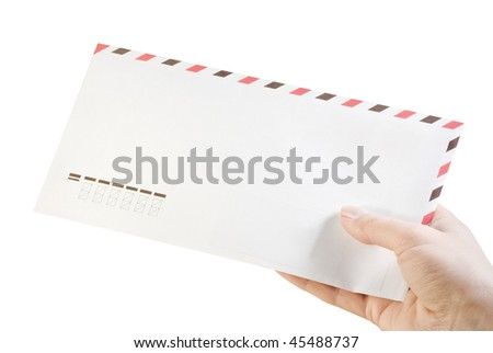 envelope in his hand isolated on white
