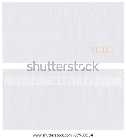 Envelope isolated on white with squares for post code, front and back