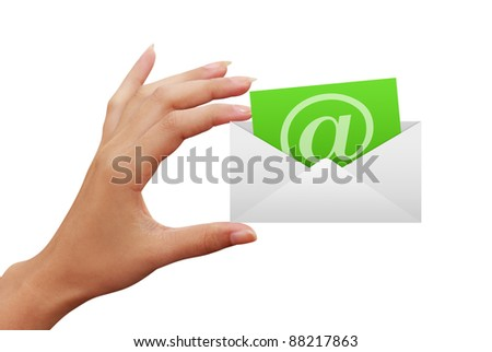 envelope letter e-mail in hand isolated on white background