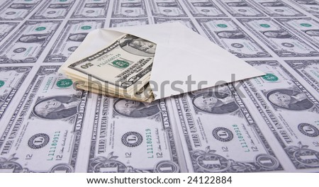 envelope on american money background - stock photo